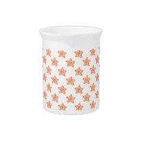 watercolor orange starfish beach design pitcher