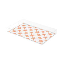 watercolor orange starfish beach design serving tray