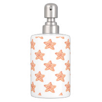 watercolor orange starfish beach design soap dispenser & toothbrush holder