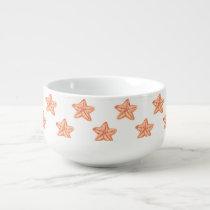 watercolor orange starfish beach design soup mug