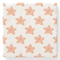watercolor orange starfish beach design stone coaster