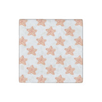 watercolor orange starfish beach design stone magnet
