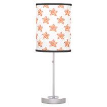 watercolor orange starfish beach design table lamp