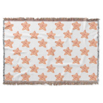 watercolor orange starfish beach design throw blanket