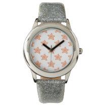 watercolor orange starfish beach design watch