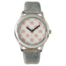 watercolor orange starfish beach design wristwatch