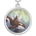 Watercolor Orca Round Pendant Necklace