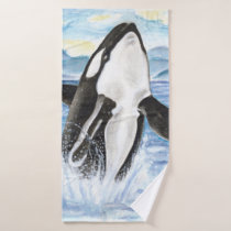 Watercolor Orca Whale Breaching Bath Towel Set