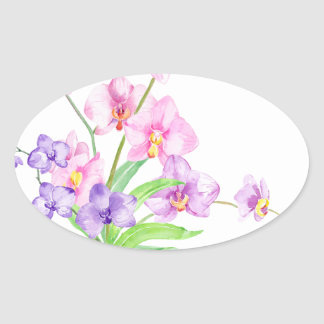 Watercolor Orchid in Pot Oval Sticker
