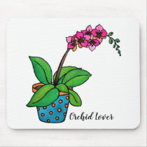 Watercolor Orchid Plant In Beautiful Pot Mouse Pad