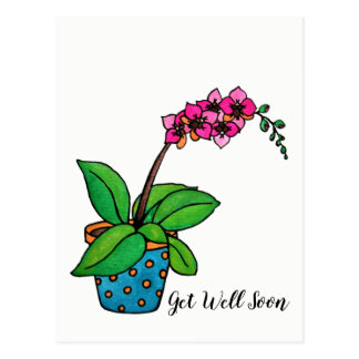 Watercolor Orchid Plant In Beautiful Pot Postcard