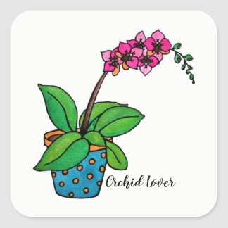 Watercolor Orchid Plant In Beautiful Pot Square Sticker