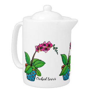 Watercolor Orchid Plant In Beautiful Pot Teapot