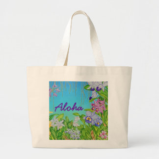 Watercolor Orchids Large Tote Bag