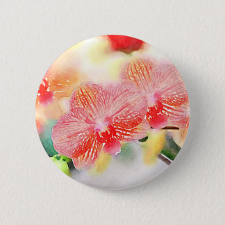 Watercolor Orchids Pinback Button