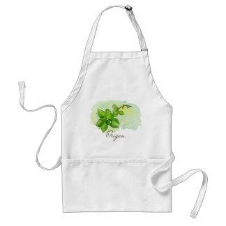Watercolor Oregano apron - Kitchen Herb Garden