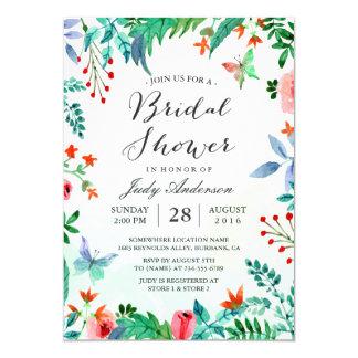 Watercolor Organic Greenery Floral Bridal Shower Card