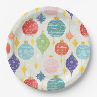 Watercolor Ornament Christmas Custom Text 9 Inch Paper Plate