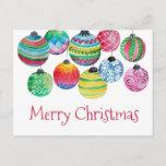 "Watercolor Ornaments Christmas Greeting card<br><div class=""desc"">Watercolor Ornaments Christmas Greeting card.</div>"