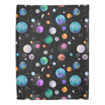 Watercolor Outer Space Planets Galaxy Duvet Cover