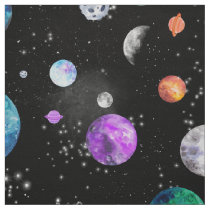 Watercolor Outer Space Planets Galaxy Fabric
