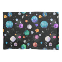 Watercolor Outer Space Planets Galaxy Pillow Case