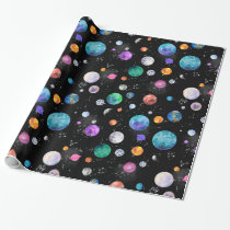 Watercolor Outer Space Planets Galaxy Wrapping Paper