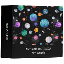 Watercolor Outer Space Planets Personalized Galaxy 3 Ring Binder