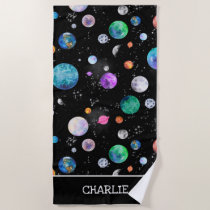 Watercolor Outer Space Planets Personalized Galaxy Beach Towel