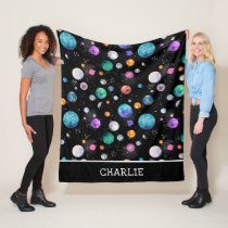 Watercolor Outer Space Planets Personalized Galaxy Fleece Blanket