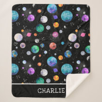Watercolor Outer Space Planets Personalized Galaxy Sherpa Blanket