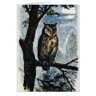 Watercolor Owl Art Greeting Card