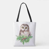 Watercolor Owl Bird Christmas  Nature art Tote Bag