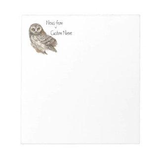Watercolor Owl, Custom Name Bird, Nature Scratch Pads