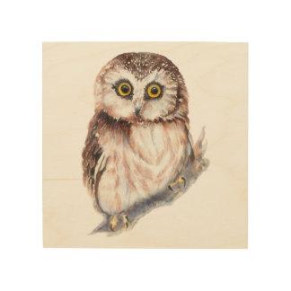 Watercolor Owl Cute Bird Animal Nature Art Wood Wall Art