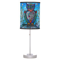 Watercolor owl fantasy cool illustration table lamp