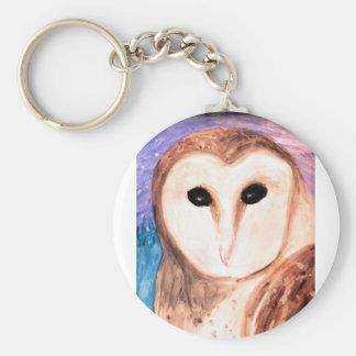 Watercolor Owl Keychain