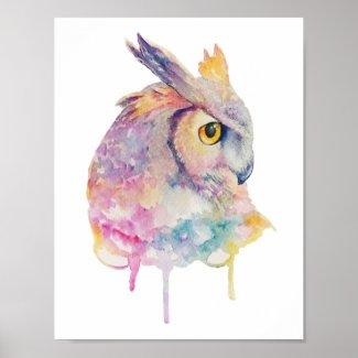 Watercolor Owl Poster
