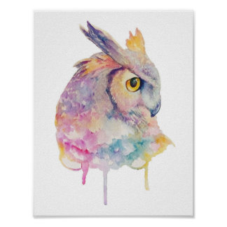 Watercolor Owl Poster