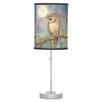 Watercolor Owl Wildlife Art Table Lamp