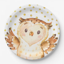 Watercolor Owl Woodland Animal Gold Dot Birthday Paper Plate