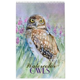 Watercolor owls  paintings calendar 2015 close-ups