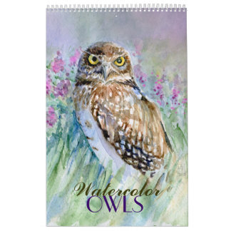 Watercolor owls  paintings calendar  close-ups