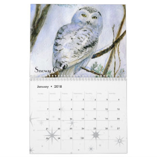 Watercolor owls paintings close-ups 18 months calendar