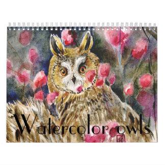 Watercolor owls paintings close-ups 2014 calendar