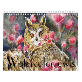 Watercolor owls paintings close-ups calendar