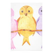 watercolor owls trio stationery