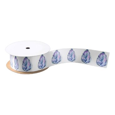 Beach Themed Watercolor oyster shell with pearl satin ribbon