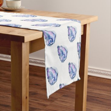 Beach Themed Watercolor oyster shell with pearl short table runner