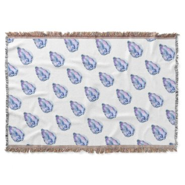 Beach Themed Watercolor oyster shell with pearl throw blanket
